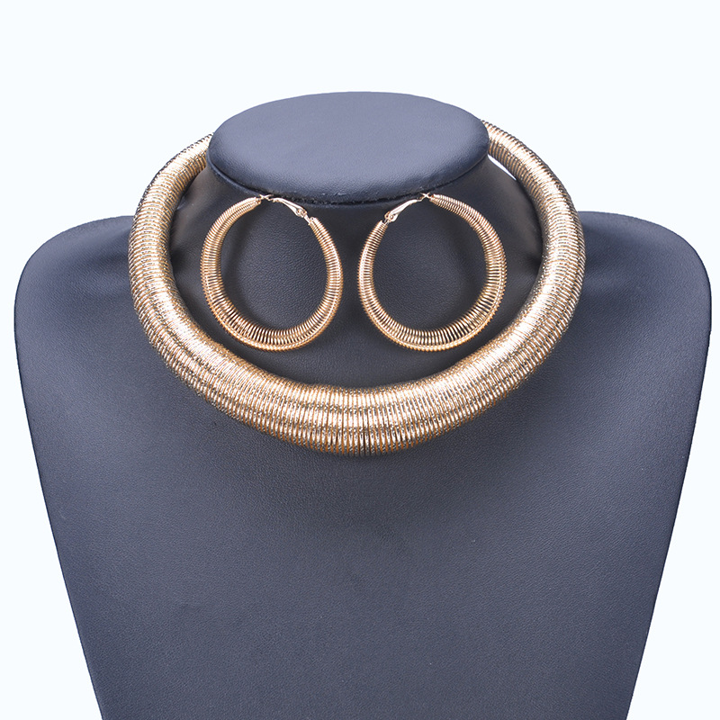 Statement Choker Metal Exaggerated Necklaces Earrings for Women Jewelry Set Stainless Steel Neck Collar Jewelry Sets Duftgold