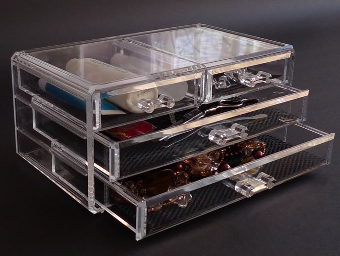 New Acrylic 4 Drawer Jewelry Cosmetic Organizer Chest Storage Cube