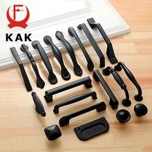 KAK 10 шт. черный шкаф в американском стиле, ручки из цельного алюминиевого сплава, кухонный шкаф, ручки для выдвижных ящиков, оборудование для обработки мебели