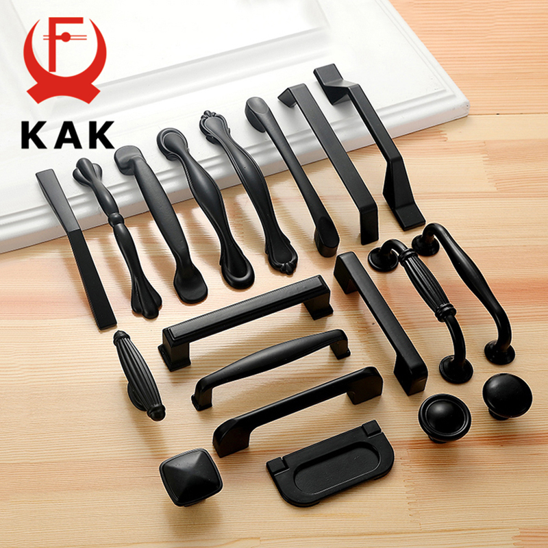 KAK 10PCS American Style Black Cabinet Handles Solid Aluminum Alloy Kitchen Cupboard Pull Drawer Knobs Furniture Handle Hardware