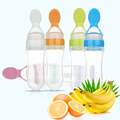90ml Baby Toddler Food Cereal Bottle Feeding Spoon Infant Food Liquid PP Silicone Spoon Squeeze Feeder Supplies 5 Colors