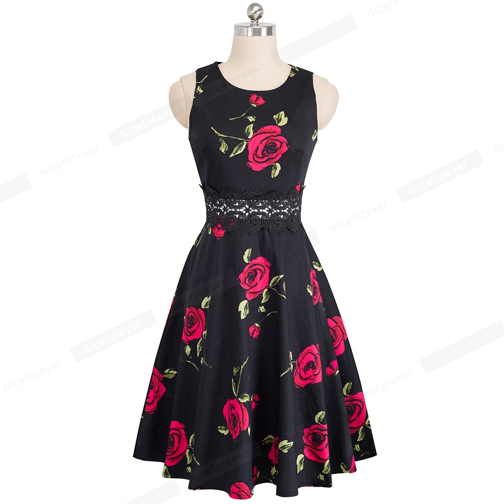 Nice-forever Vintage Elegant Embroidery Floral Lace Patchwork vestidos A-Line Pinup Business Women Party Flare Swing Dress A079 137
