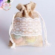 8.5 × 11 センチメートル 50 個レースナチュラルジュート黄麻布の巾着袋ジュエリーギフトキャンディバッグホームデコレーションウェディングパーティー装飾供給