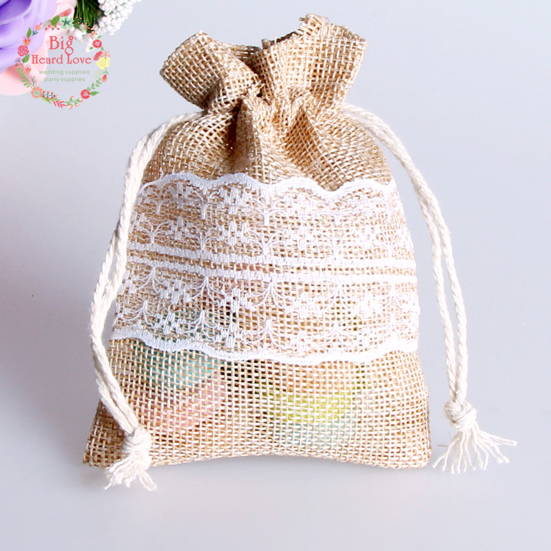 8.5x11cm 50Pcs Lace Natural Jute Burlap Drawstring Bag Jewelry Gift Candy Bag Home Decoration Wedding Party Decoration Supply