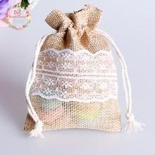 Bolsa de renda de juta natural 8.5x11cm, 50 peças, cordão, presente, joia, decoração para casa, festa de casamento fonte de decoração