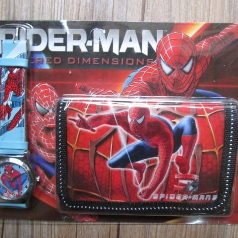 1pcs Hot sale! Wholesale New Lot Spiderman sets cartoon kids part Set watch Wristwatch and wallet purse Lahore