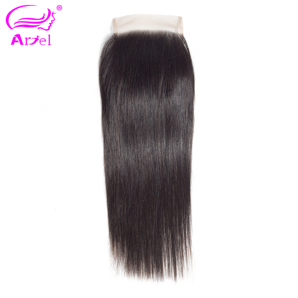 Ariel 100% Brazilian Human Hair Straight 8-20 Inch 4*4 Lace Closure Natural Color Non- Remy Hair Weaving 1PC/Lot Free Shipping