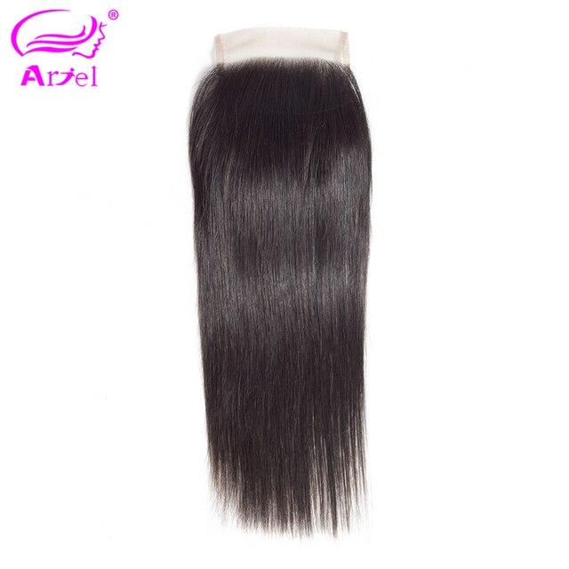 Ariel 100% pelo humano brasileño recto 4*4 Cierre de encaje Color Natural no Remy cabello tejido Frontal de encaje cierres de la parte media