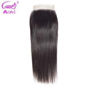 Ariel 4x4 Lace Closure 100% Human Hair Closure Brazilian Hair Weaving Natural Color Remy Hair Straight Frontal Closure Free Part