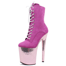Extreme High Heel Boots Pink erotic lap dancing ankle boots size36-43