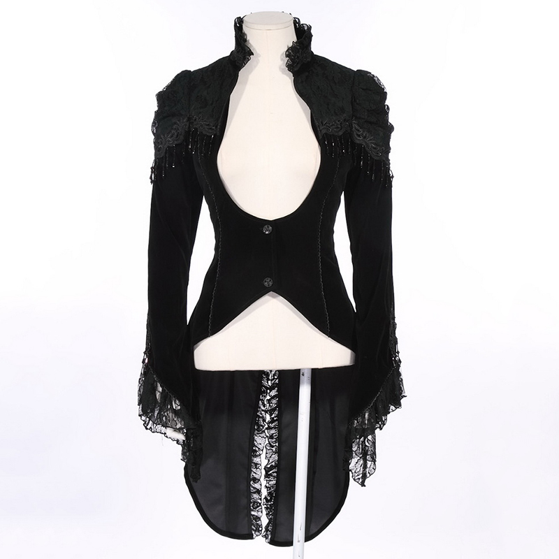Steampunk Court Style Gothic Swallowtail Jacket Sexy Lady Corset Dress Coat Vintage Gorgeous Lace Slim Fit Jackets with Tassels