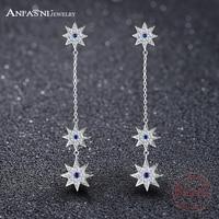ANFASNI New 925 Sterling Silver Romantic Jewelry 3Stars Long Stud Earrings For Wedding Elegant AAA Cubic