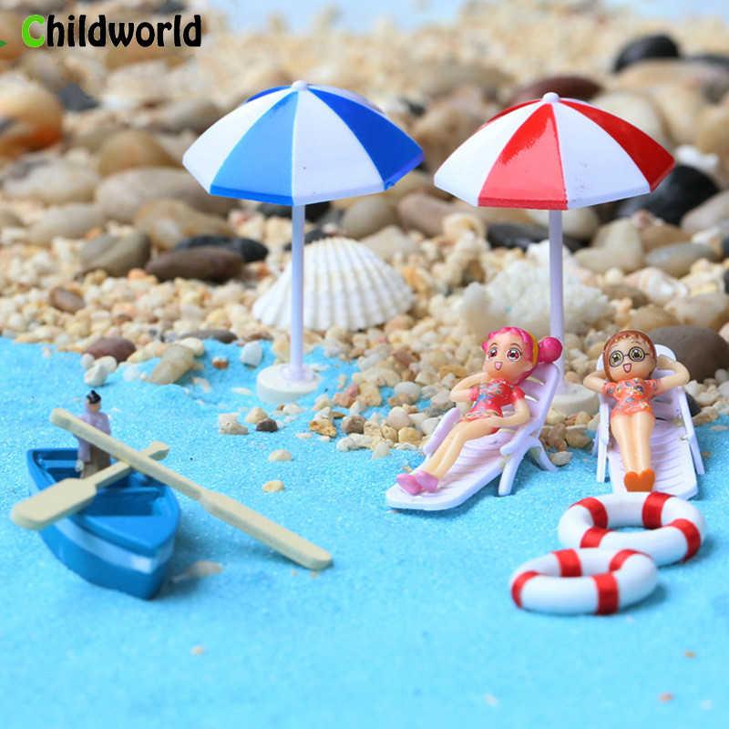 Partito popolare in miniatura fata giardino figurine Complementi Arredo Casa Resina polpa barca Spiaggia Ombrello salvagente Complementi Arredo Casa zione Accessori