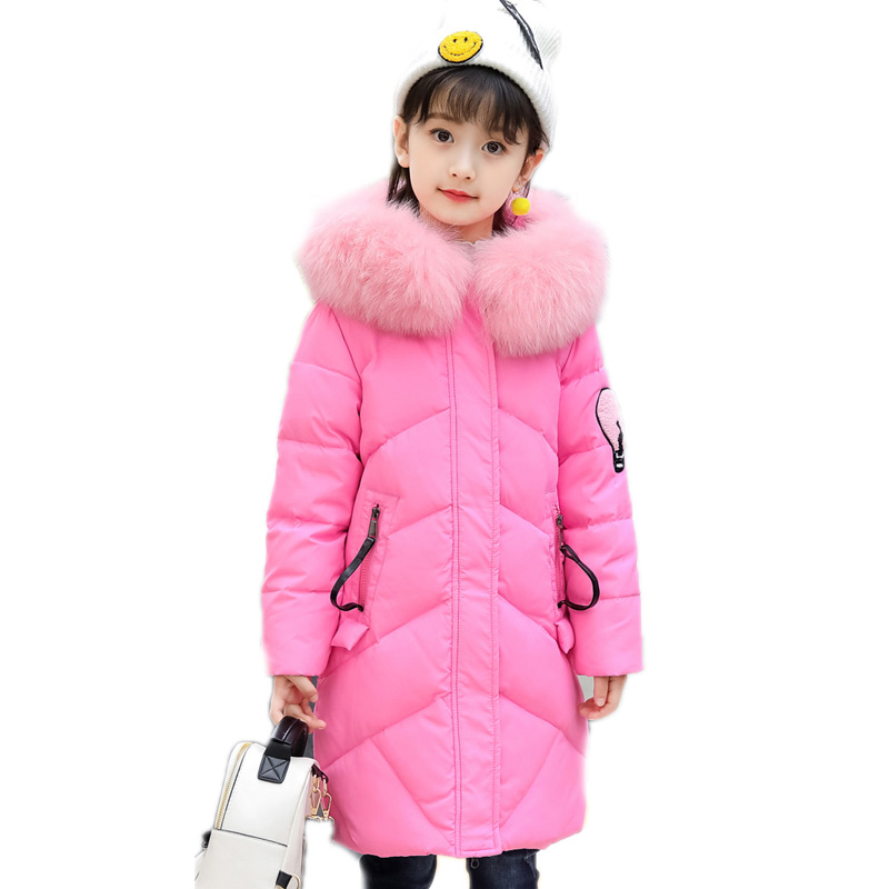 children winter coat kids winter jackets solid long section girl parka down jacket thicken warm pink collar hooded girls outwear цена