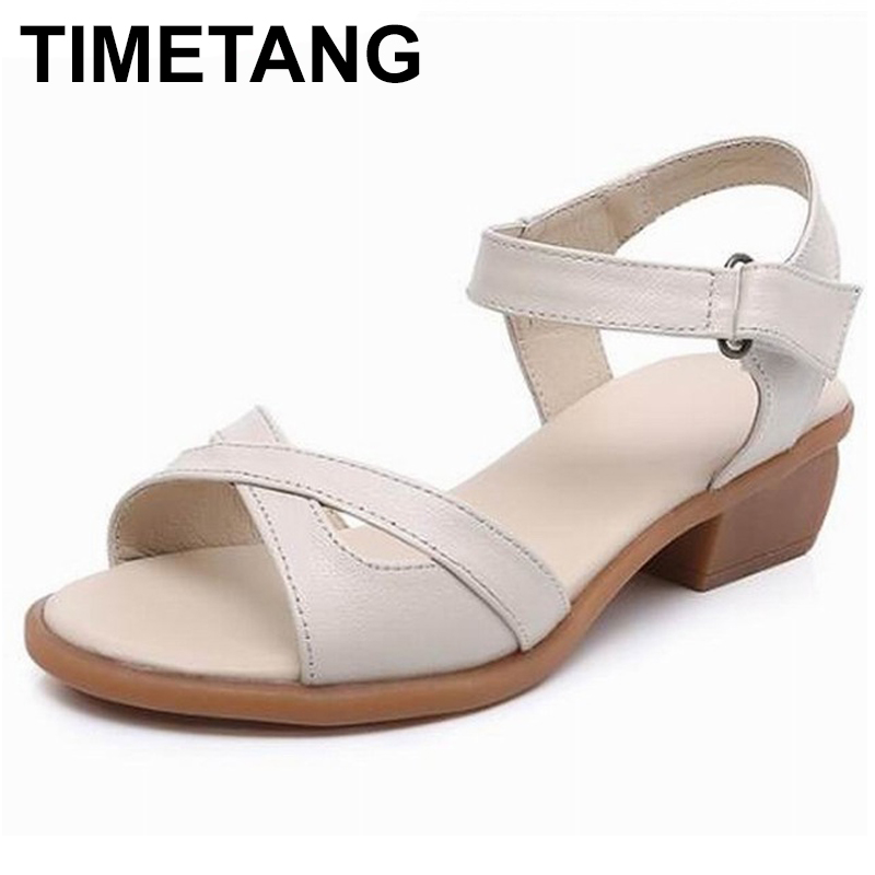 TIMETANG 2018 summer new arrive women sandals simple solid colors buckle summer shoes leisure low heels