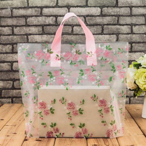 50pcs Plastic Bags Boutique Retail Printed Design with Handle Gift Shop Carrier Bag