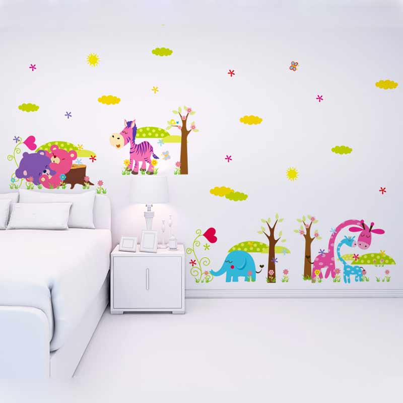 forest animals removable wall stickers for kids decorative wall