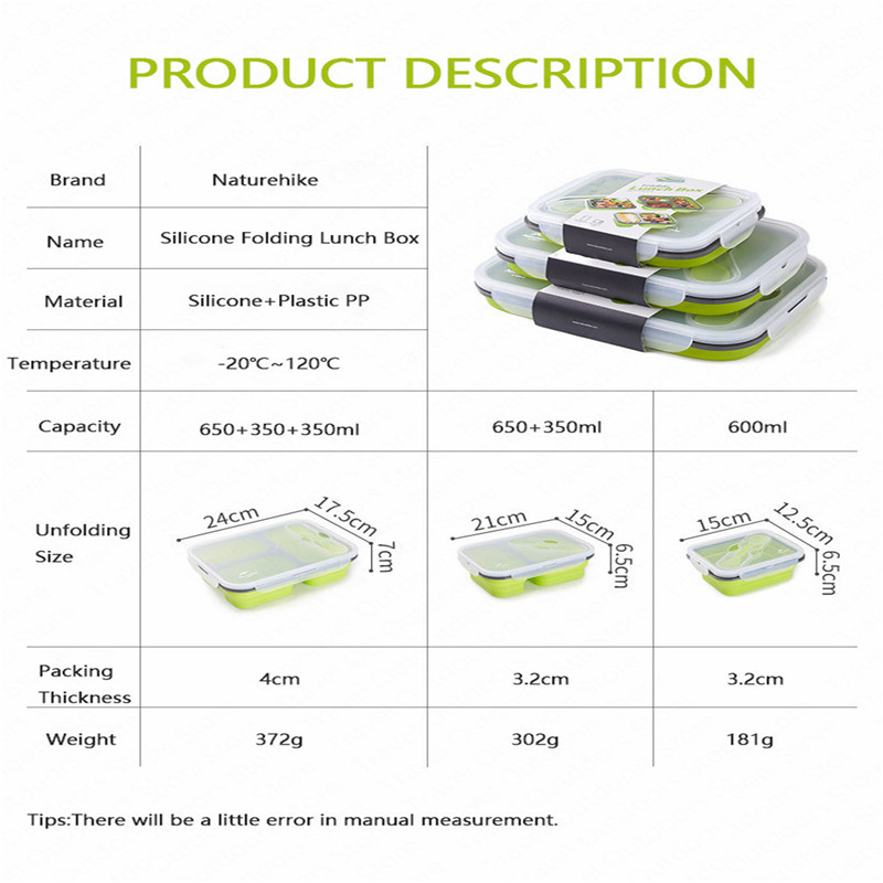 Image 2 - 1 3 Grid Folding Silicone Lunch Dinner Box Bento Travel Bowl Picnic Food Container Lunchbox for Outdoor Tableware 600 1300ML-in Outdoor Tablewares from Sports & Entertainment