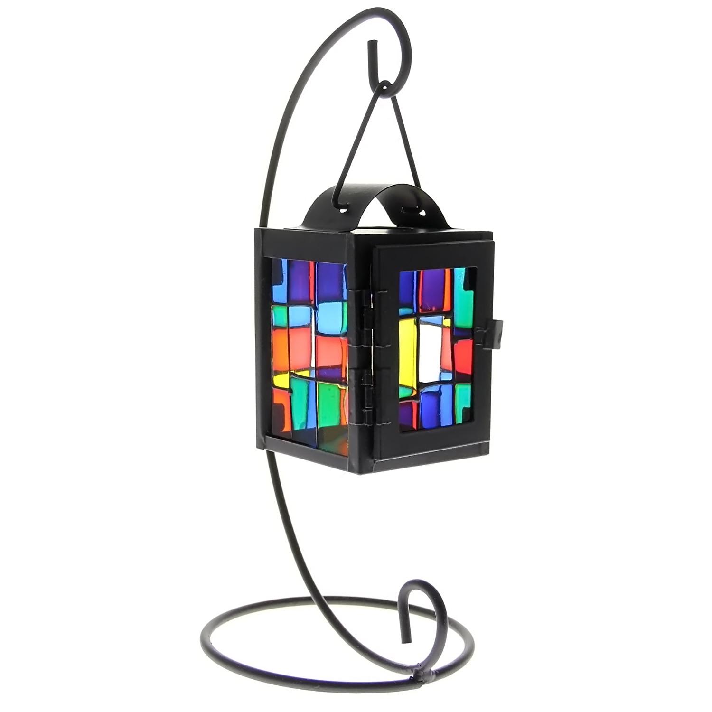 Review Pada Home Office Table Desk Dekoratif Hanging Colorful Besi Glass Lantern Candle Holder Candlestick Hitam