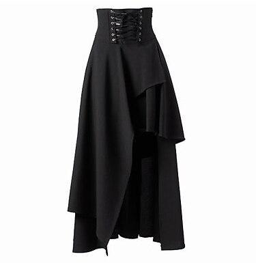 Jupe Gothique Lolita Lolita Cosplay Lolita Dress Noir Solide Thé-longueur Patché Jupe Pour Femmes Coton