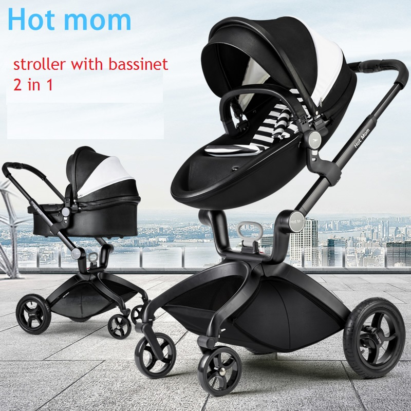 high landscape hotmom Deluxe PU Leather baby stroller,European standard, Infant folding Pram carts Pushchair
