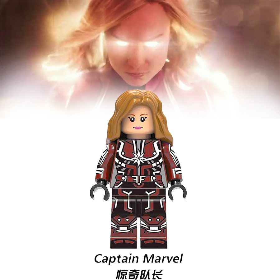Christmas Captain Marvel Superhero Avengers Building Blocks Figures Compatible Legoings  Wonder Woman Superman New Year's Gift