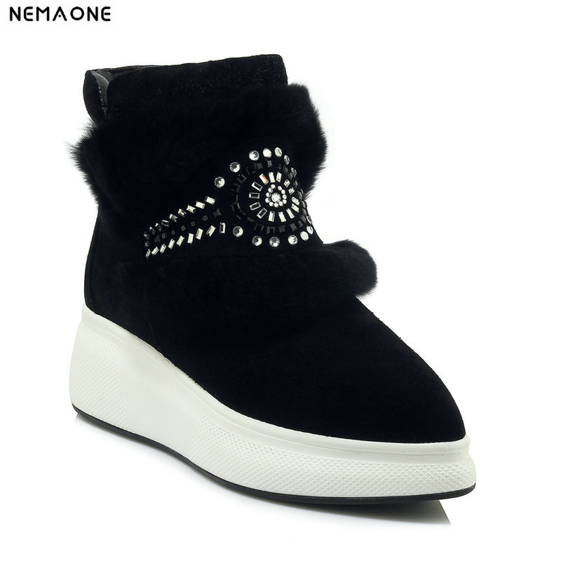 все цены на NemaoNe High-quality Women Snow Boots suede Leather Ankle Boots Warm Winter Boots Woman Shoes
