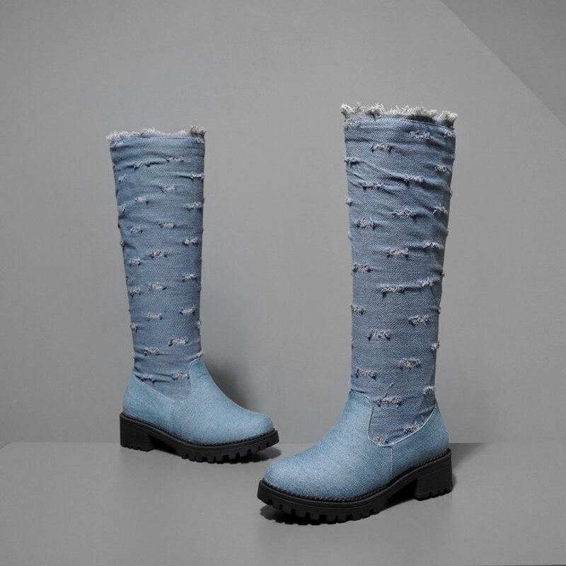 BLXQPYT супер большой размер 34–52 ткани стрейч джинсовые сапоги до колена; круглый носок Для женщин; сезон осень-зима; обувь на среднем каблуке; женская обувь Y76