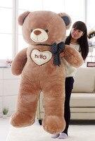 huge toy hello teddy bear plush toy love bowtie bear doll soft hugging pillow, creative Christmas gift b7063