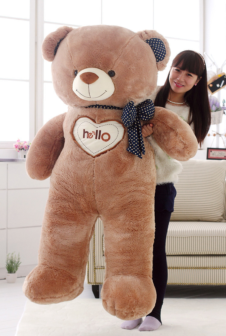 huge toy  hello teddy bear plush toy love bowtie bear doll soft hugging pillow, creative Christmas gift b7063 about 60cm creative prone cat doll plush toy soft throw pillow christmas gift x071