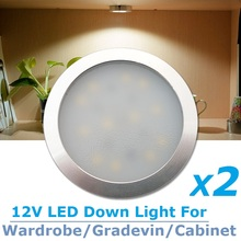 2x12v DC LED Ultrathin Wardrobe Under Cabinet Light Pure White Silver Shell Caravan RV Interior Lamp Roof Kitchen lighting