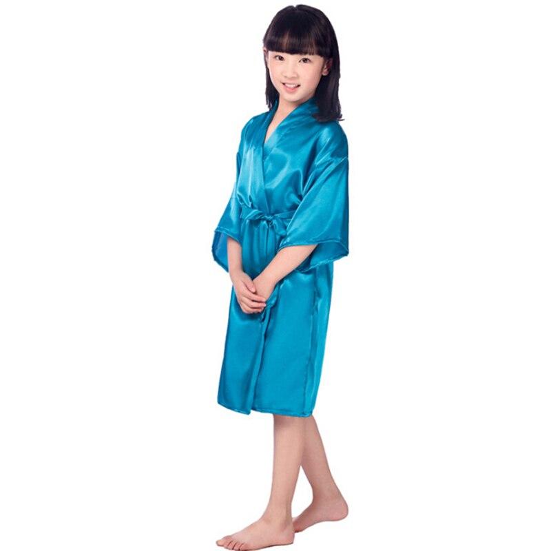 Neue solide mädchen fleck seidenroben 6 farben kimono robe hochzeit ...