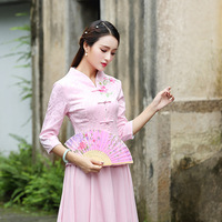 Pink Girls Embroidered Top 2018 new fashion Women Cheongsam Shirt half sleeve Traditional Chinese Clothing Chinese Tunic Top