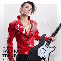 S 5XL New Patent leather rivet jacket Dj ds bar costumes men's clothing tide personality outerwear male singer stage show jacket