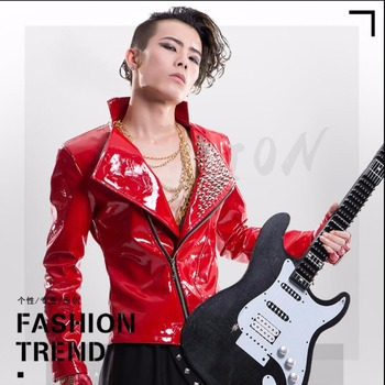S-5xl New Patent Leather Rivet Jacket Dj Ds Bar Costumes Men's Clothing Tide Personality Outerwear Male Singer Stage Show Jacket