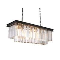 Винтаж Лофт кованого железа кристалл подвесной светильник роскошный обеденный стол подвесной светильник современные металлические Крист