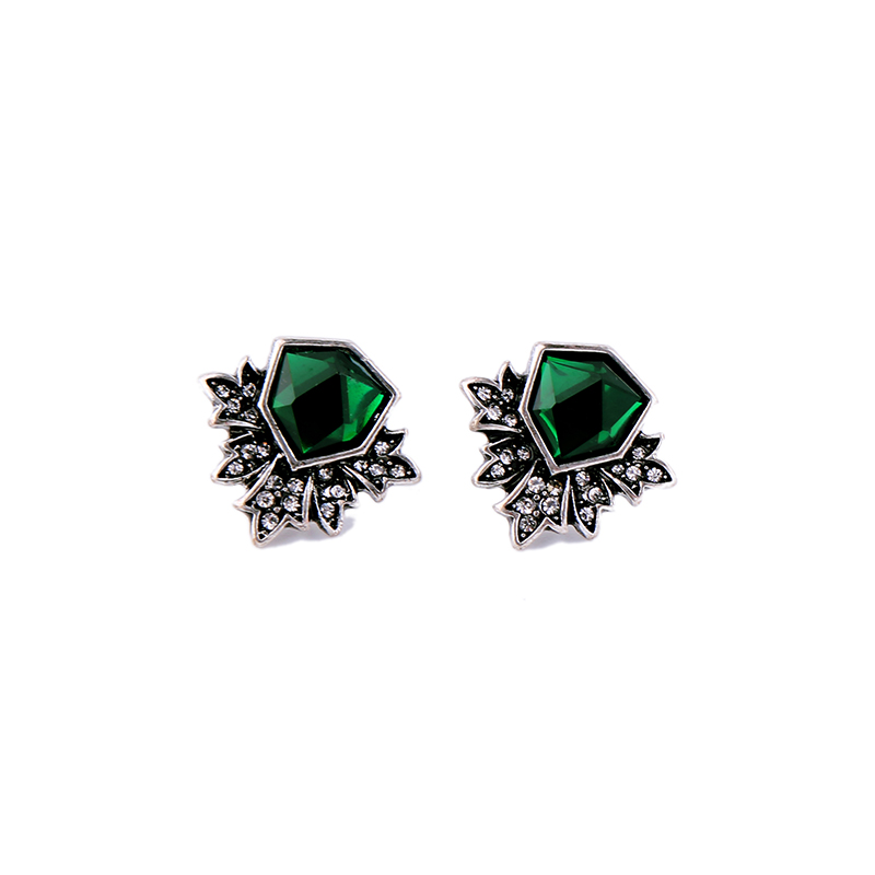 KISS ME Antique Silver Color Green Stud Earrings Fashion Jewelry New - Fashion Jewelry - Photo 5