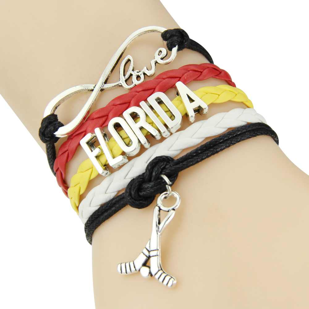 Chain Bracelet Infinite Love FLORIDA Black Red Yellow White Cord Golf Dropshipping