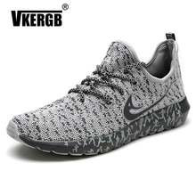 VKERGB Fashion Summer Shoes Men Casual Air Mesh Shoes Lightweight Breathable Slip-On Flats Men Casual Shoes Flats Shoes Gray