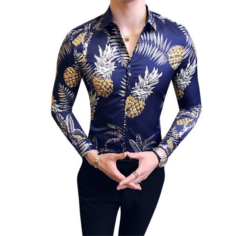2018 Autumn New Fashion Casual Men dress shirt Pineapple Flower printed Gold Mens Long-s ...