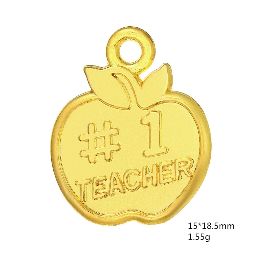 US $4 99 |Skyrim 20Pcs/Lot Zinc Alloy Engraved Number 1 Teacher Message  Apple Figure Statement Charm For Your Teacher-in Charms from Jewelry &