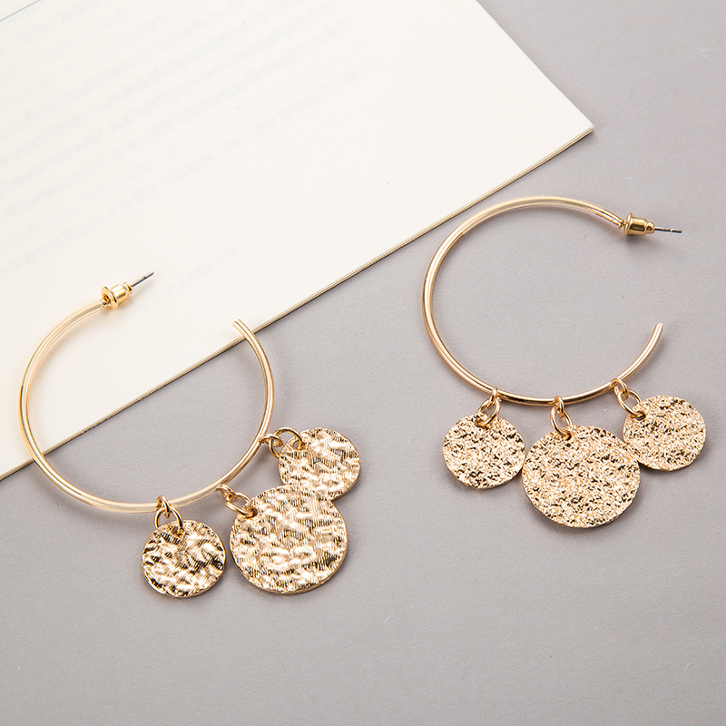 Tocona New Arrival Punk Big Round Shape Design Geometric Pendant Earrings For Women Female Gold Color Jewelry Accessories 3537 10