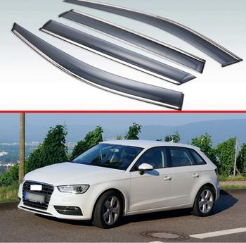 Dla Audi A3 Sportback 2013 2014 2015 2016 2017 2018 2019 z tworzywa sztucznego na zewnątrz daszek odcienie okno Sun deszcz straż deflektor 4 sztuk