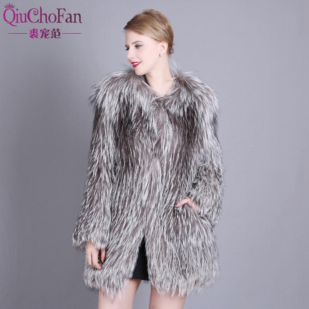 2018 new Real Phnom Penh Fox Fur Coat Fashion Silver Fox knit caots Medium warm jacket for women Free Shipping