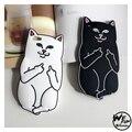 3D Bonito dos desenhos animados Gato Bolso Dedo Médio preto/branco do gato capa de silicone macio para iphone 5 5s se 6 6 s 7 mais lindo gatinho capa