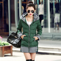Woman 2017 New Women Long Coat Parkas Hooded Warm Clothes Slim Winter Jacket Coat Casual Splice Femme Costume Pretty girl Coats