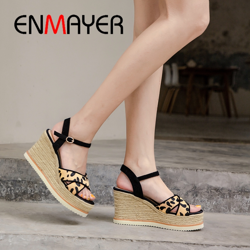 ENMAYER 2019 New Arrival  Horsehair  Gladiator  High Heels Sandals Women  Casual Super High Platform Sandals Size 34-39 LY2248ENMAYER 2019 New Arrival  Horsehair  Gladiator  High Heels Sandals Women  Casual Super High Platform Sandals Size 34-39 LY2248