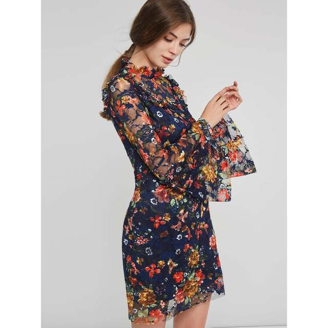 1a25e483da4f5 US $13.71 51% OFF|Sisjuly Evening Party Dark Blue Vintage Floral Falbala  Lace Boho Mini Dress Women Work Ruffle See Through Mesh Short Dresses-in ...