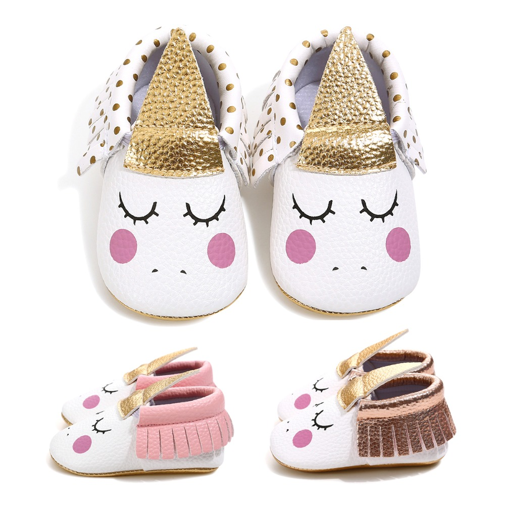 Modest 2019 Pu Leather Handmade Custom Party Baby Girl Shoes Blush Blush Angle Unicorn Baby Soft Sole First Walker Toddler Moccasins