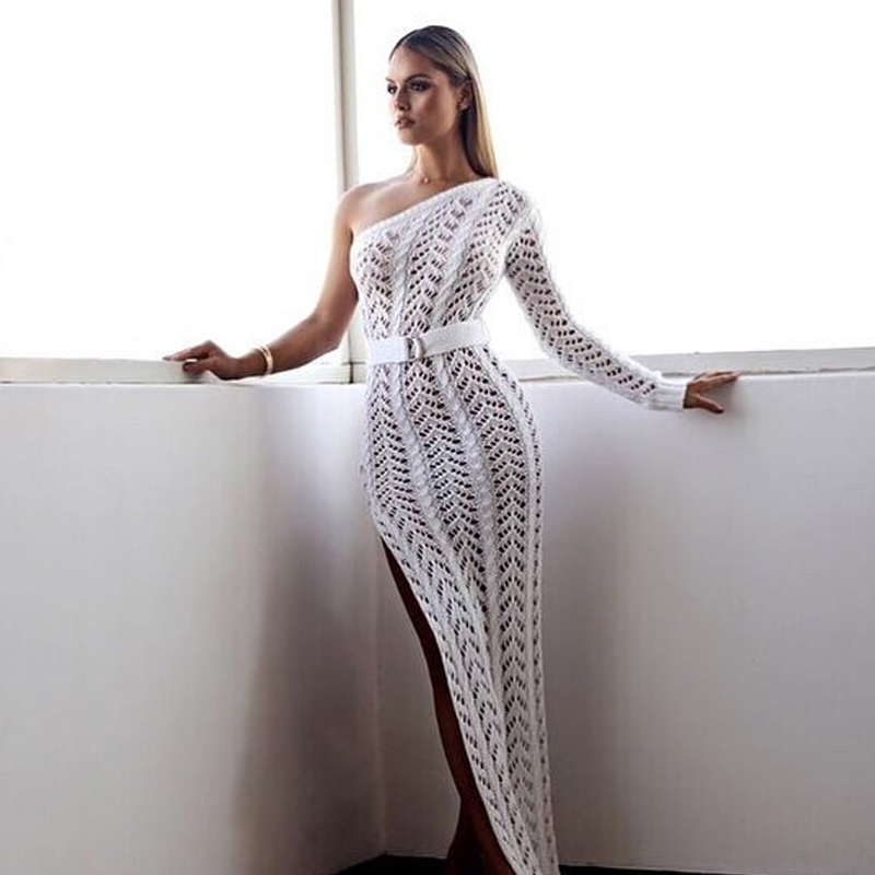 3a5f746ed0d5 Szykowny 2018 Women Beach Dress Sexy One Shoulder Crochet Summer Dresses  Side Slit Hippie Boho White Maxi Dress Long Vestidos-in Dresses from Women's  ...